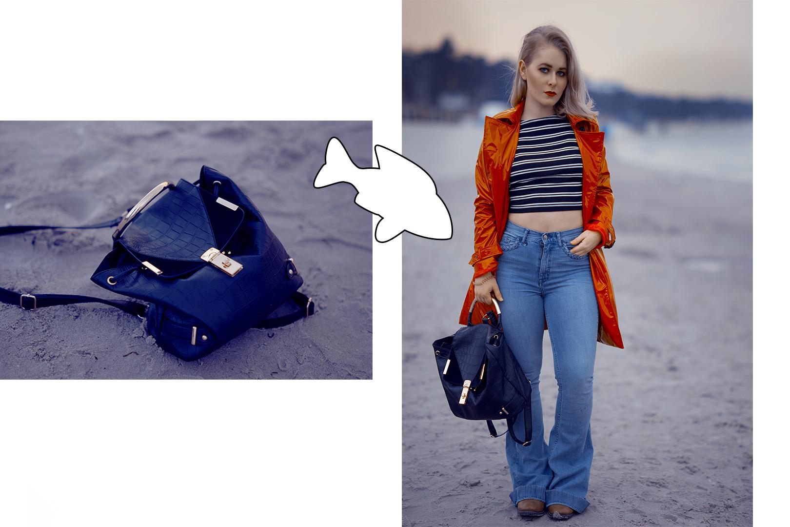 Gestreiftes Shirt und High Waisted Jeans an der Ostsee
