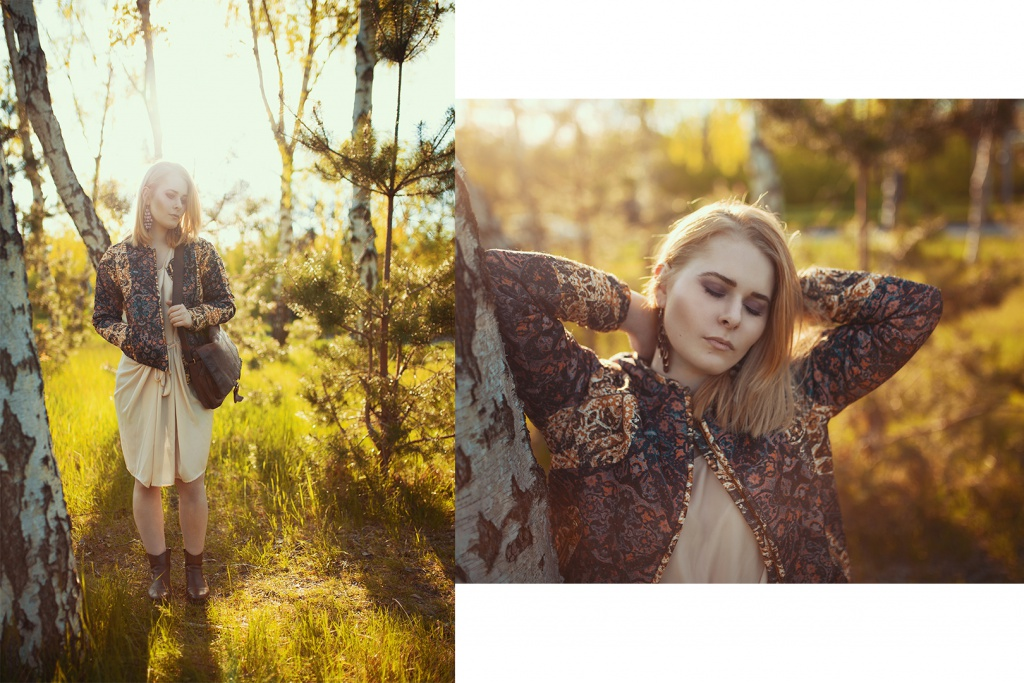 Christina Key trägt ein elegantes Kleid kombiniert mit einer coolen Bomberjacke