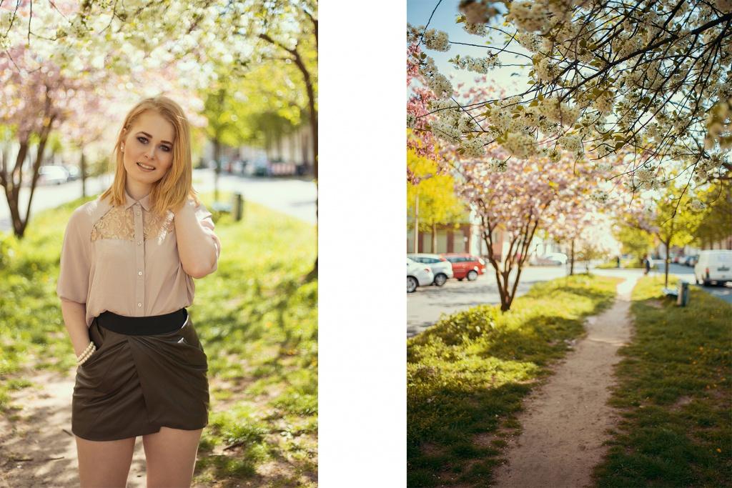 Die Wahlberlinerin Christina Key trägt einen sexy Minirock in khaki