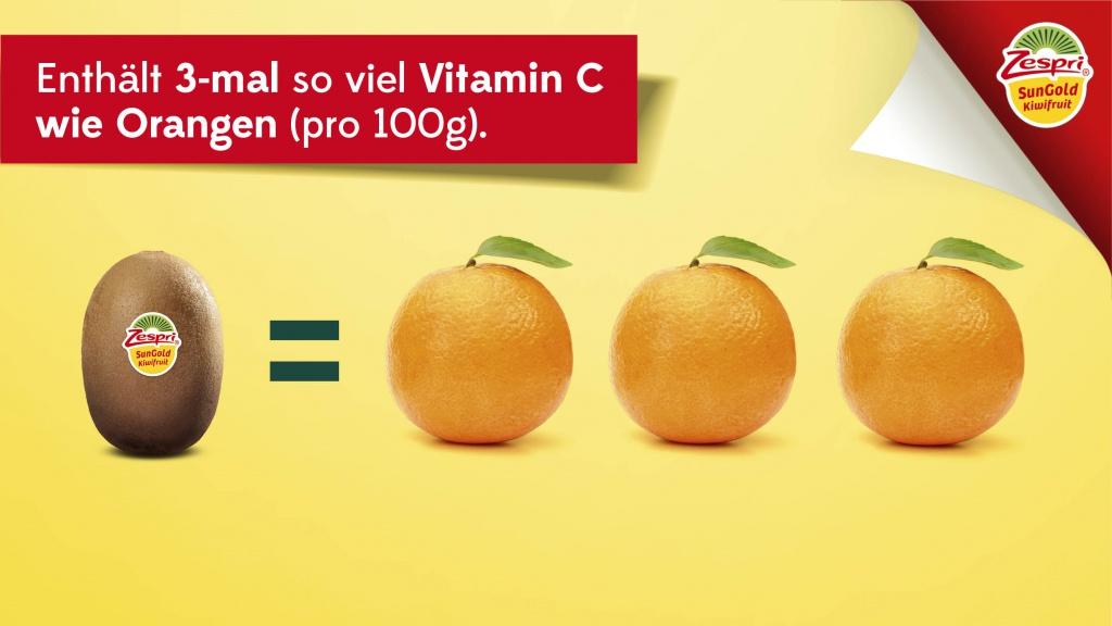 Zespri SunGold Kiwi enthält so viel Vitamin C wie 3 Orangen (pro 100g)