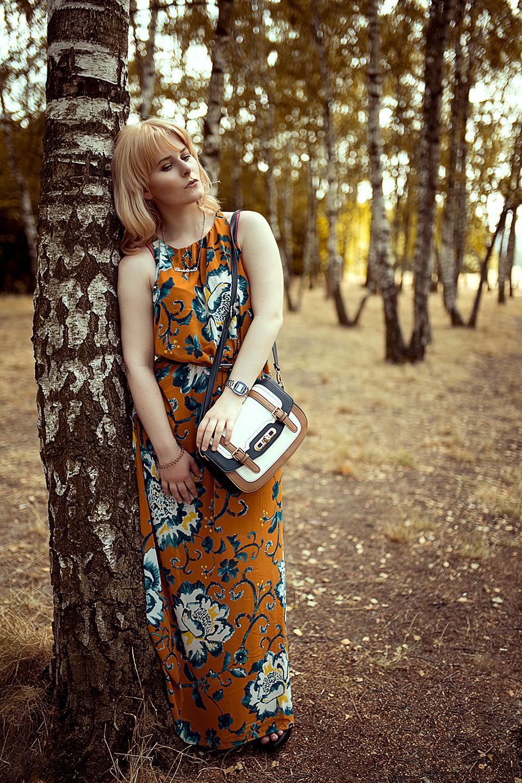 Bodenlanges-Kleid-in-orange