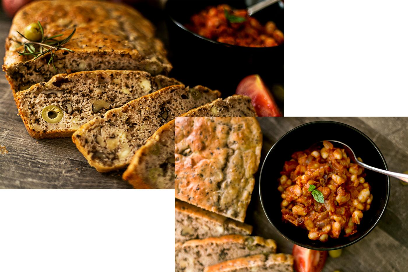 Feta Wallnuss Brot mit Bohnenragout