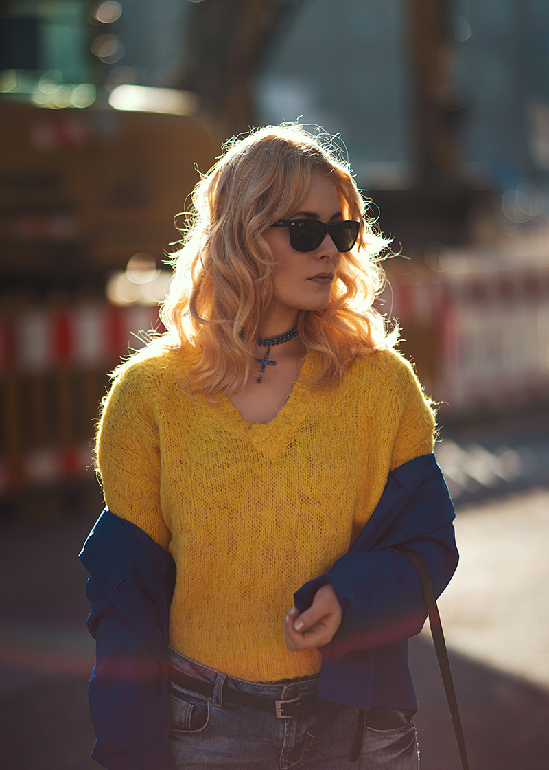 blue and yellow fashion look by christina key