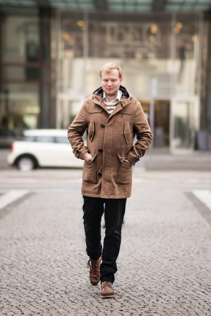 Men Fashion Outfit Winterjacke Braun