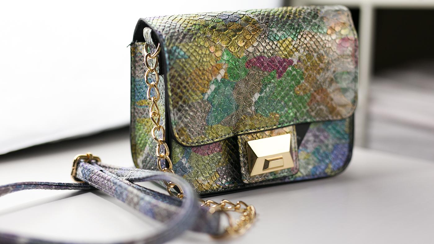Bunte-Tasche goldener Verschluss