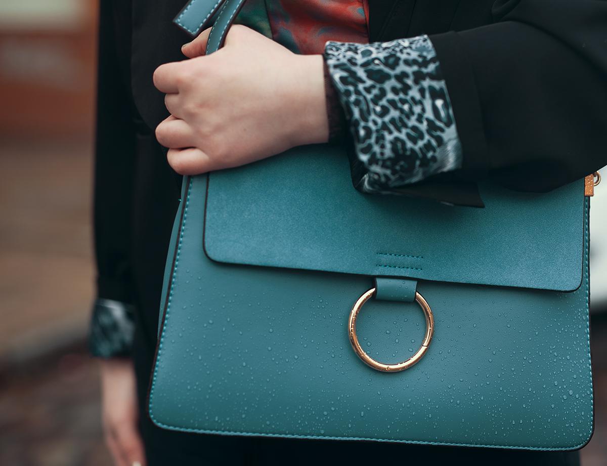 Blaue Tasche Silber Ring