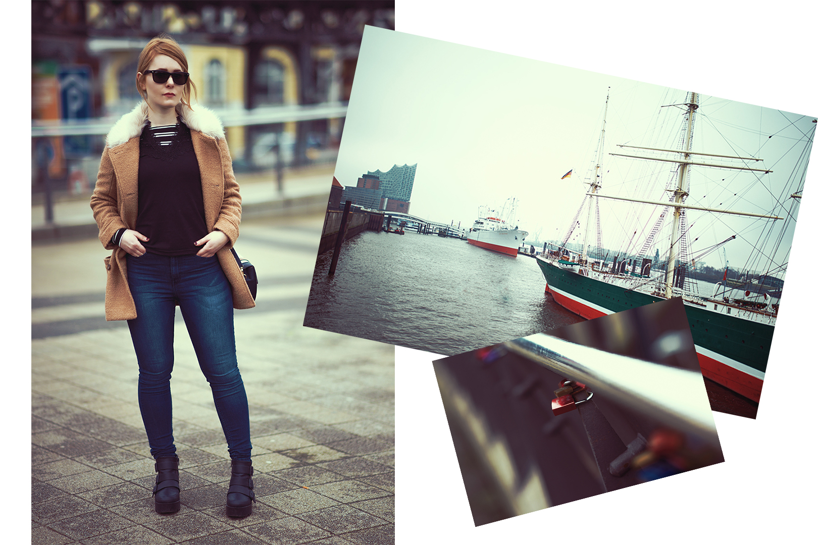 Fashion babe Christina Key wearing a dark blue jeans and a black sweater