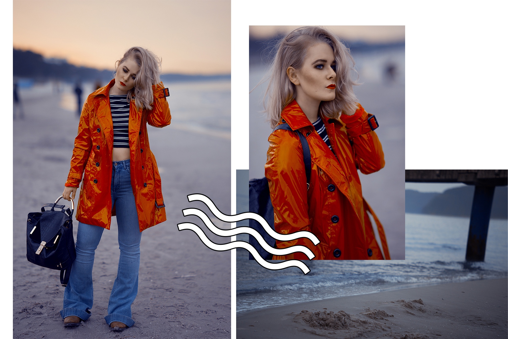 Fashion Blogger Girl Christina Key from Berlin is wearing a high waisted jeans and a red coat