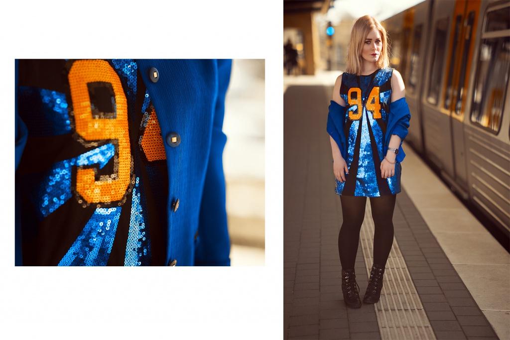 Fashion Bloggerin Christina Key aus Berlin trägt einen royal blauen Blazer und ein cooles Glitzer Kleid