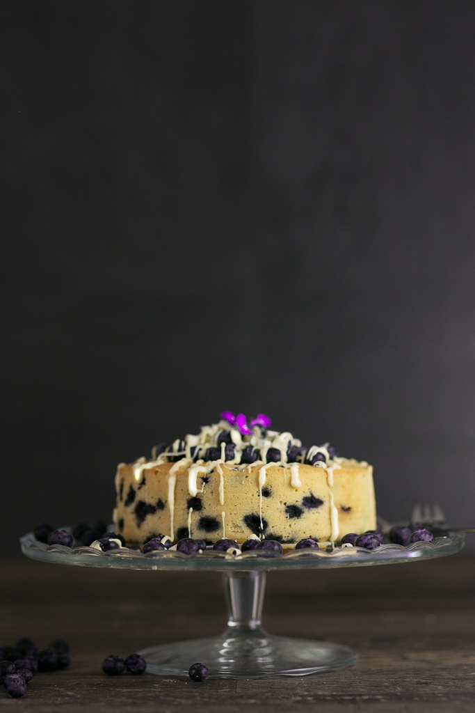 Blueberry White Chocolate Cake with blueberries on top