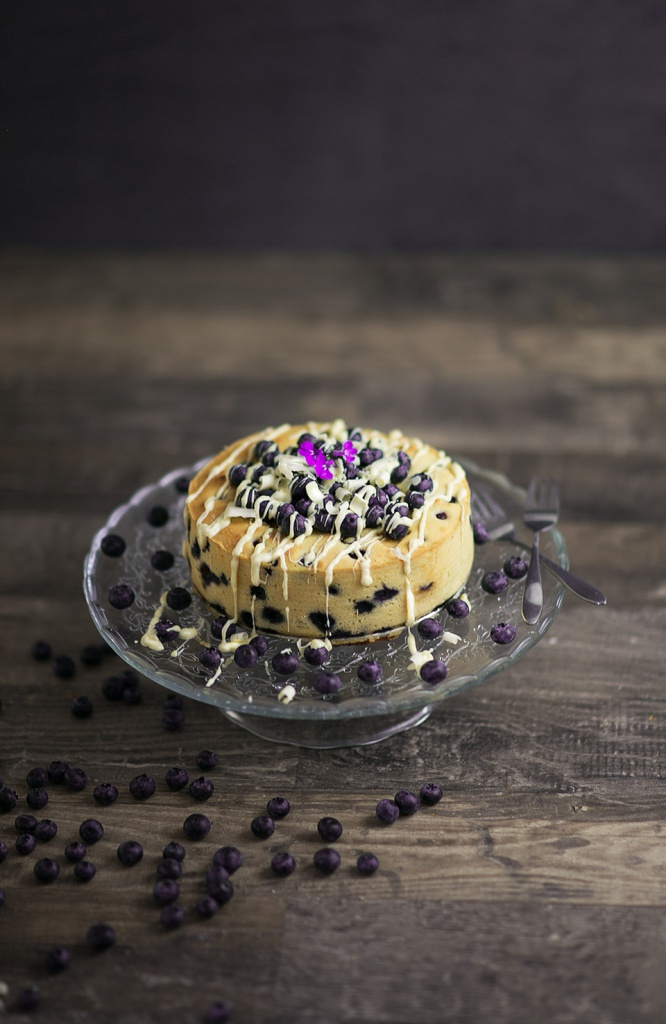 Blueberry Cake with white chocolate on top