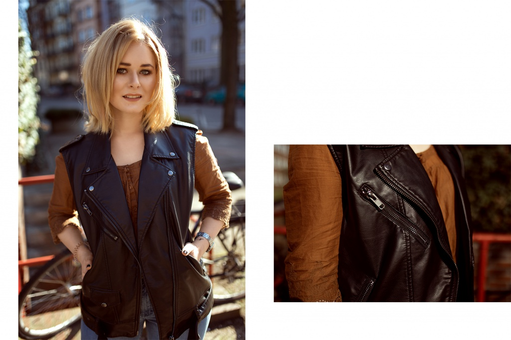 brown blouse and black leather vest