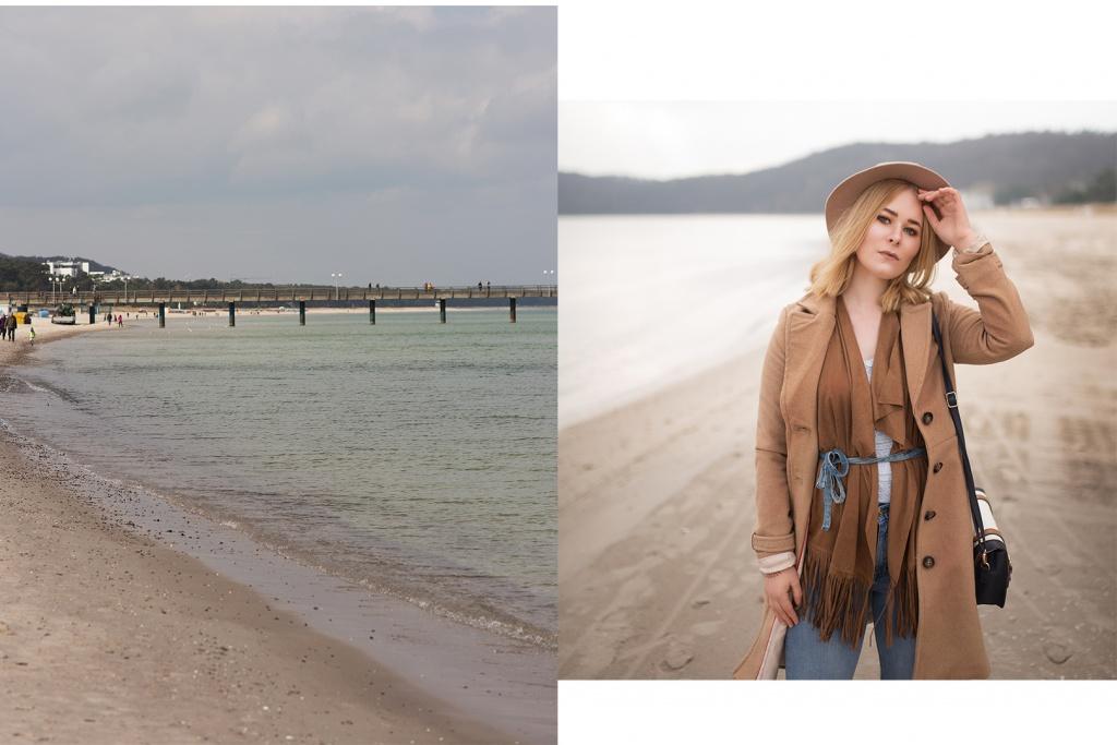 Die Berliner Bloggerin Christina Key steht am Strand von Rügen und trägt eine High Waist Jeans und einen Hut