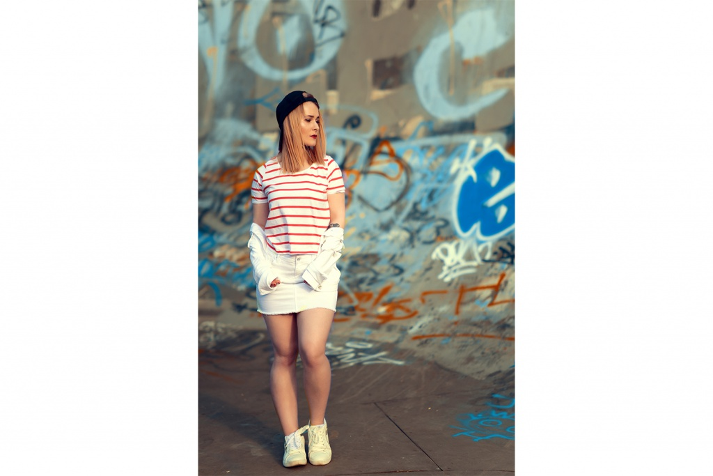 Mini skirt white from cross jeans cool outfit