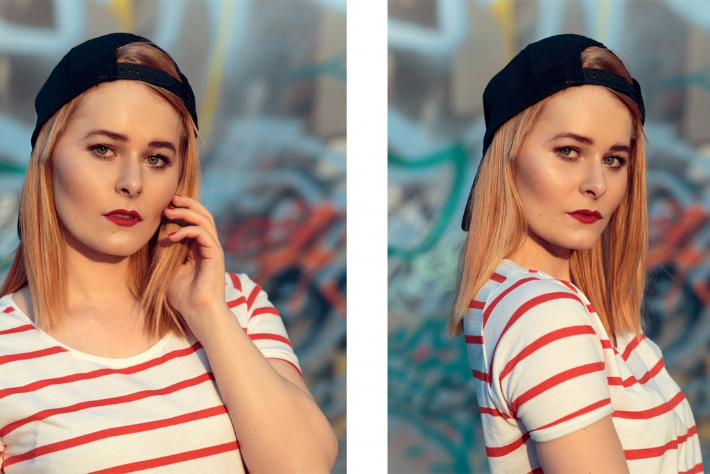 fashion bloggerin christina key aus berlin trägt ein gestreiftes sommer shirt und capi