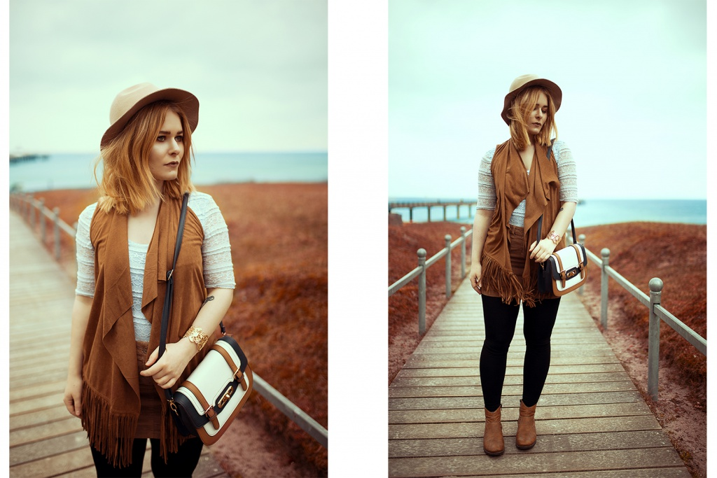 Fashion Blogger Girl Christina Key is wearing a brown boho vest, a dark leggins and a beautiful hat
