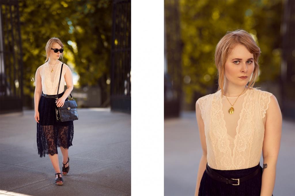 Romantisches Outfit mit schwarzem Spitzenrock