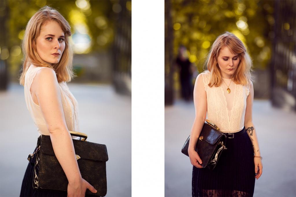 Schwarze Tasche blonde Haare