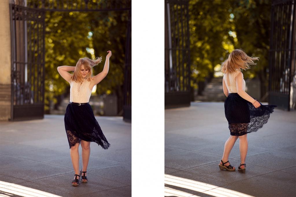Wehendes Klei im Wind Bewegung Outfit