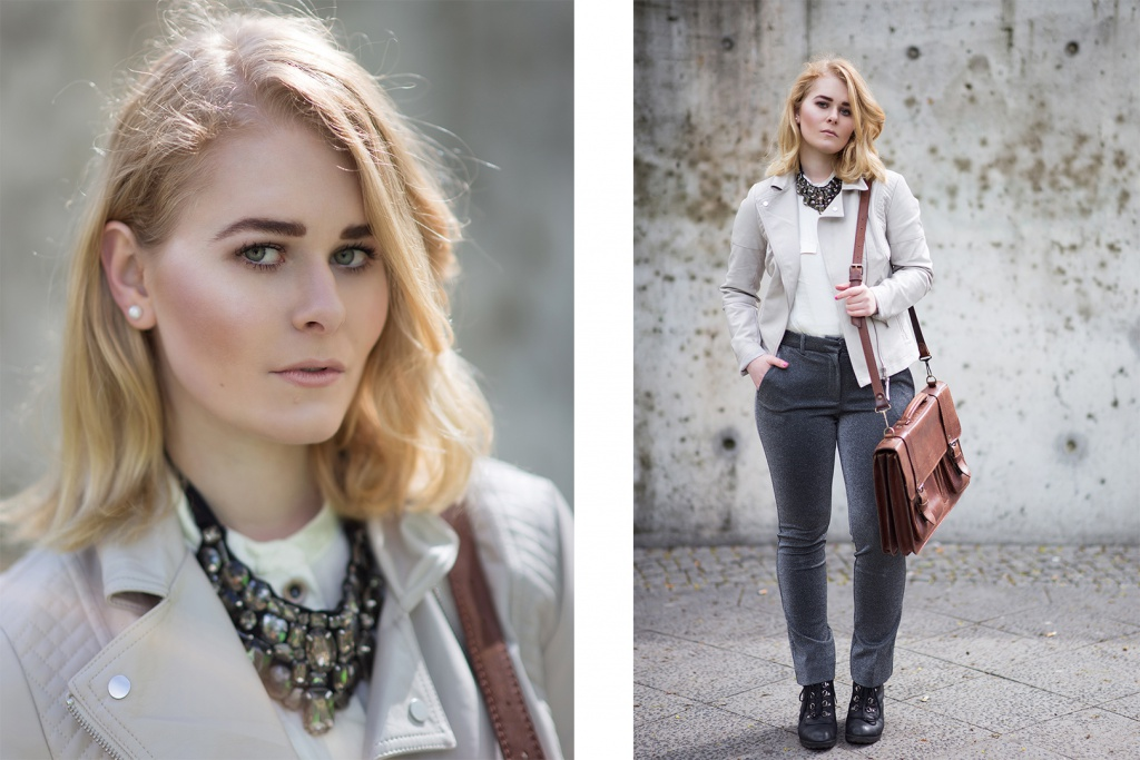 German Fashion Blogger Christina Key is wearing a glitter necklace, a light grey leather jacket and a cool glitter pants