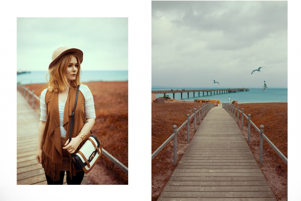 Fashionista Christina Key from Germany is wearing a brown boho vest, a chic hat and a light blue lace top