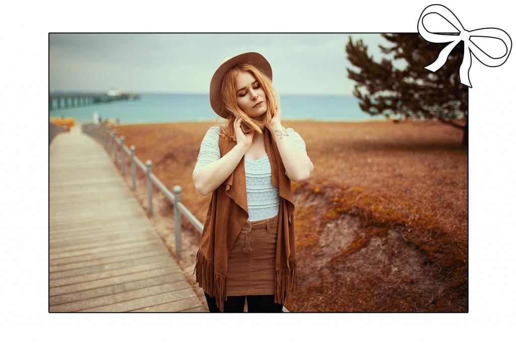 Dreamy portrait of fashion blogger Christina Key at the Baltic Sea Beach