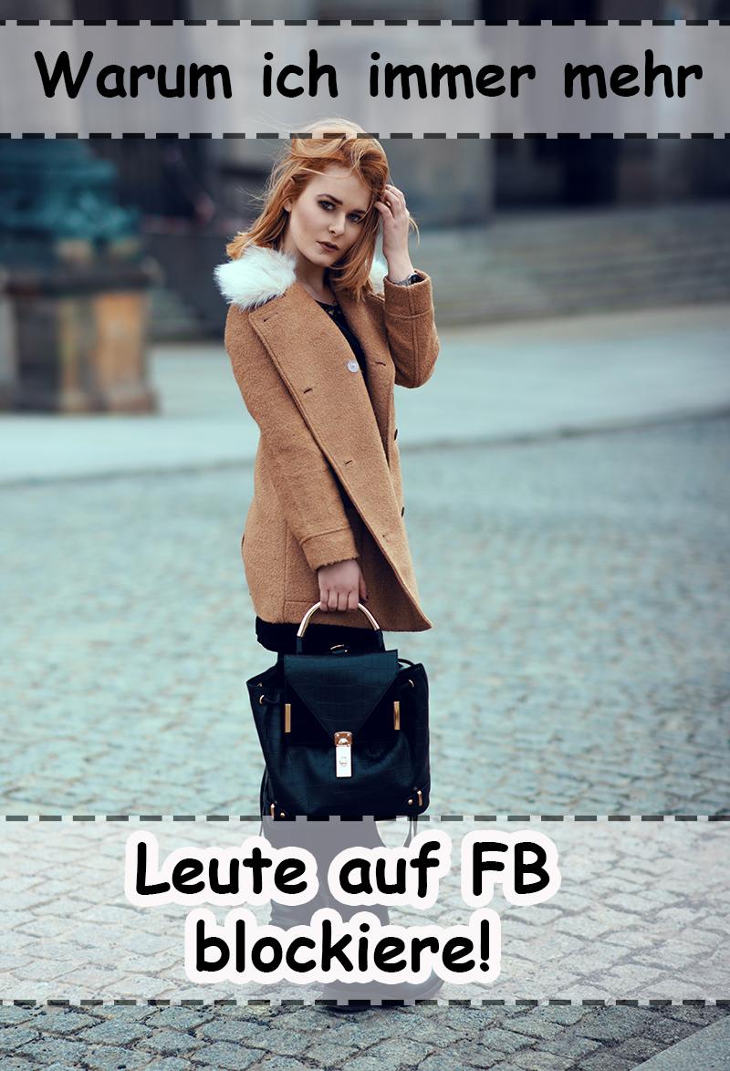 Warmes Outfit mit braunem Mantel und schwarzem Samtkleid