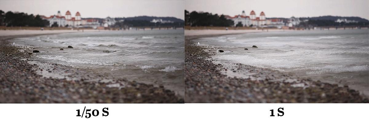 Wasser am Meer mit 1/50s und 1 s Belichtungszeit fotografiert.