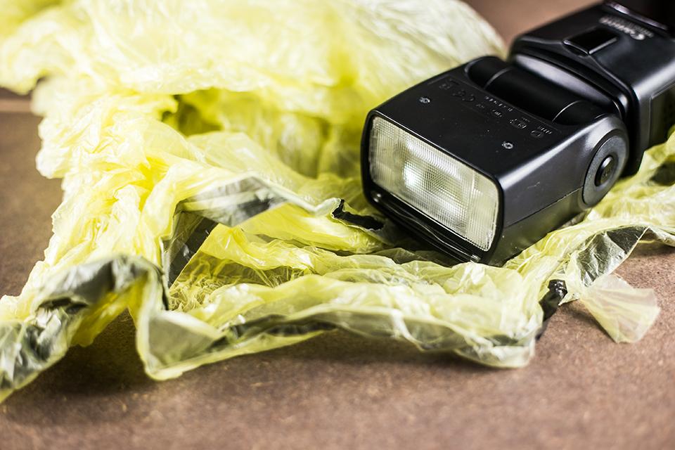 Gelbe Mülltüte für coole Bildeffekte