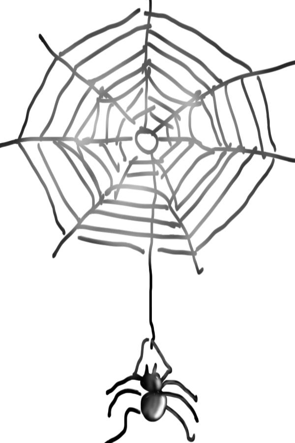 Spinnen-Netz gezeichnet