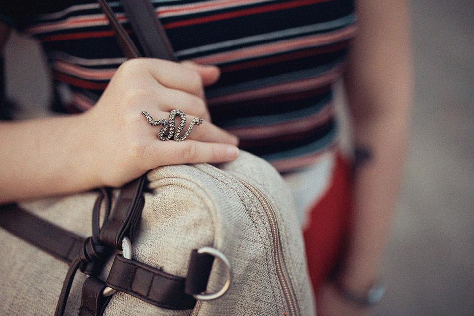 graue-tasche-und-schlangen-ring