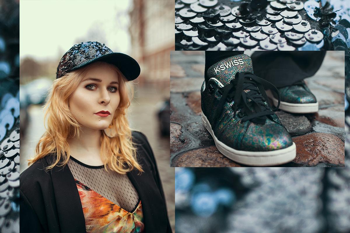 Outfit mit K-Swiss Sneaker & Spitzenbody