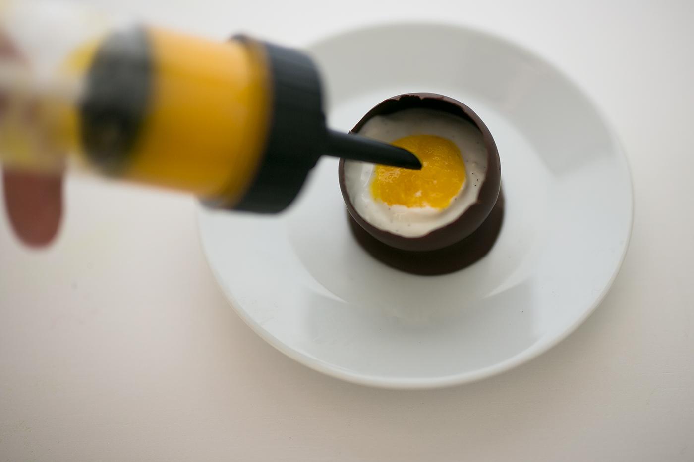 Schoko Ei mit Quark Mango