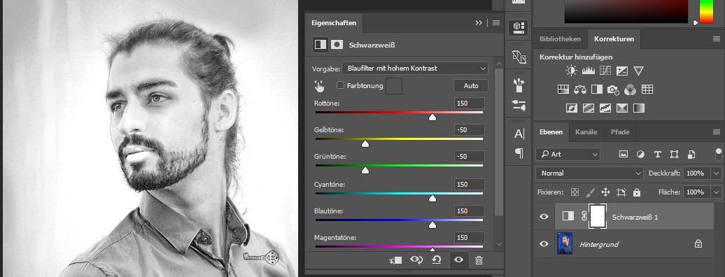 Schwarz/Weiß Filter durch Korrektur Ebene