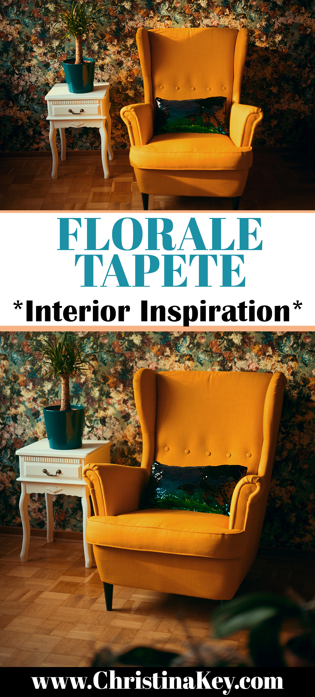 Florale Tapete Interior Inspiration