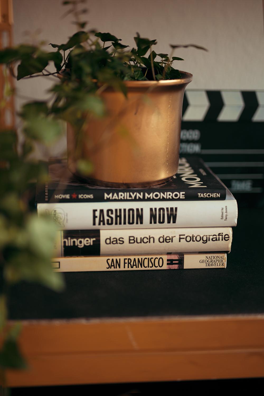 Goldener Blumentopf Efeu auf DIY Regal im Designer Look