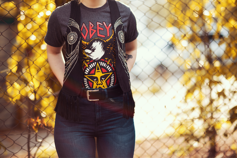 Motivshirt Franzen Weste Highwaist Jeans