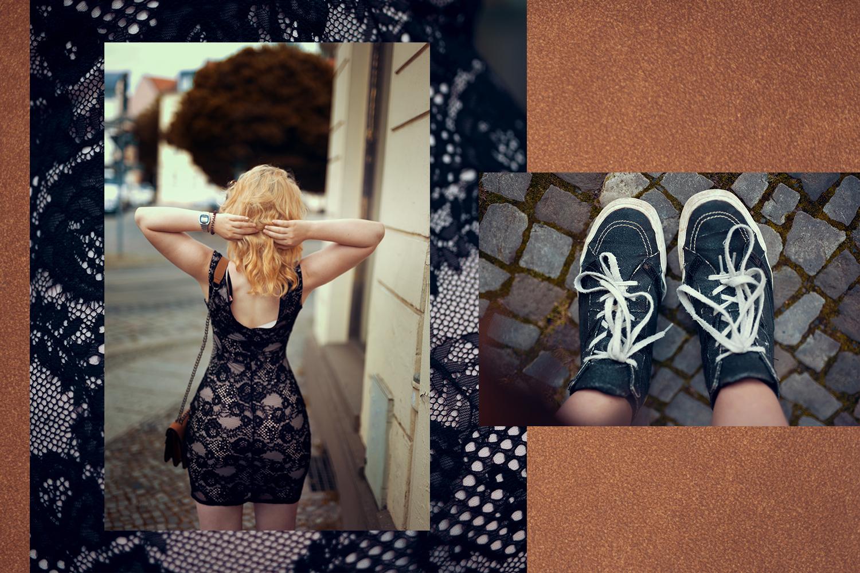 Schwarzes Spitzenkleid kombiniert mit Sneaker