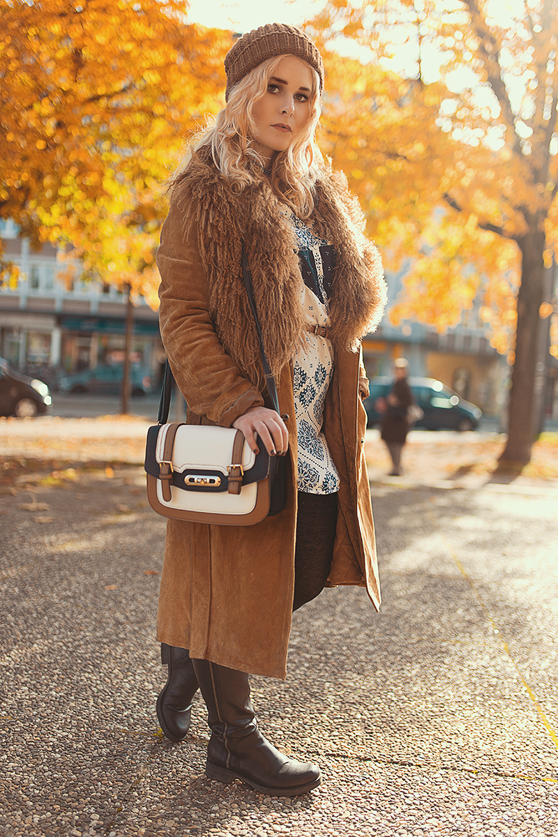 Brauner Mantel Fake Fur Herbst Outfit