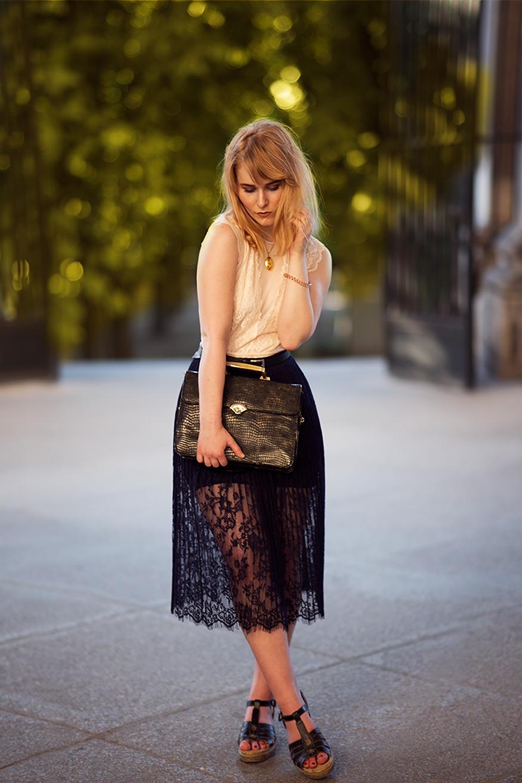 Herbst Outfit Spitzen Rock