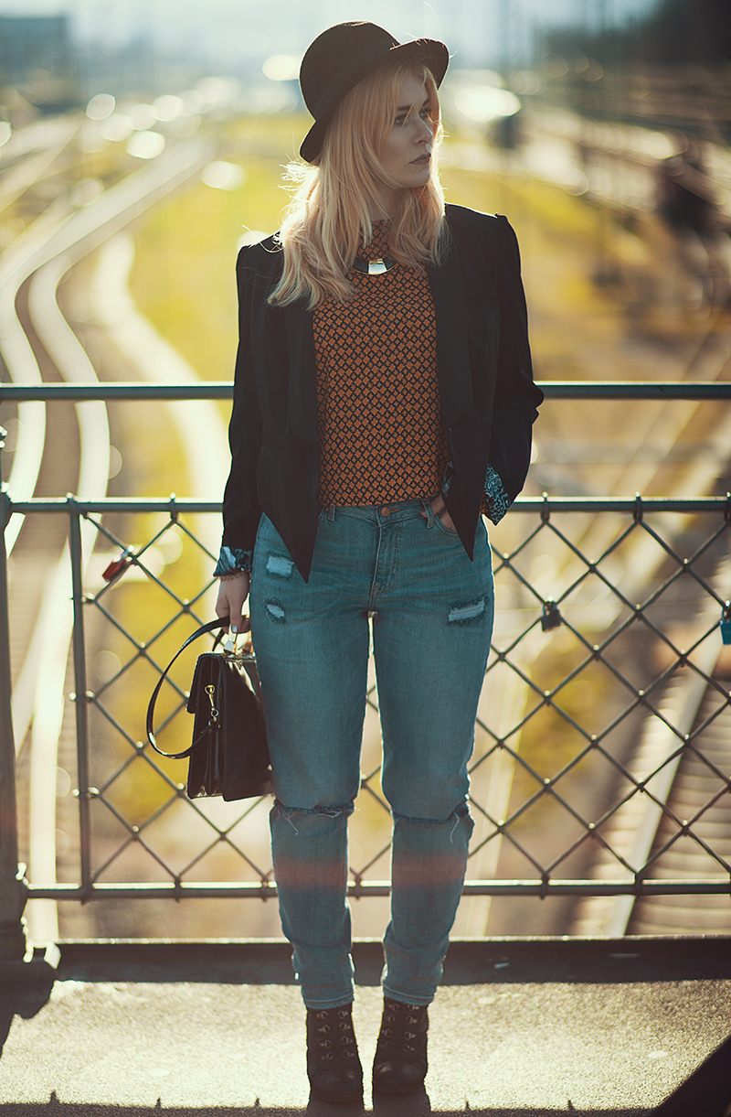 Jeans Blazer Retro Top Herbst Look