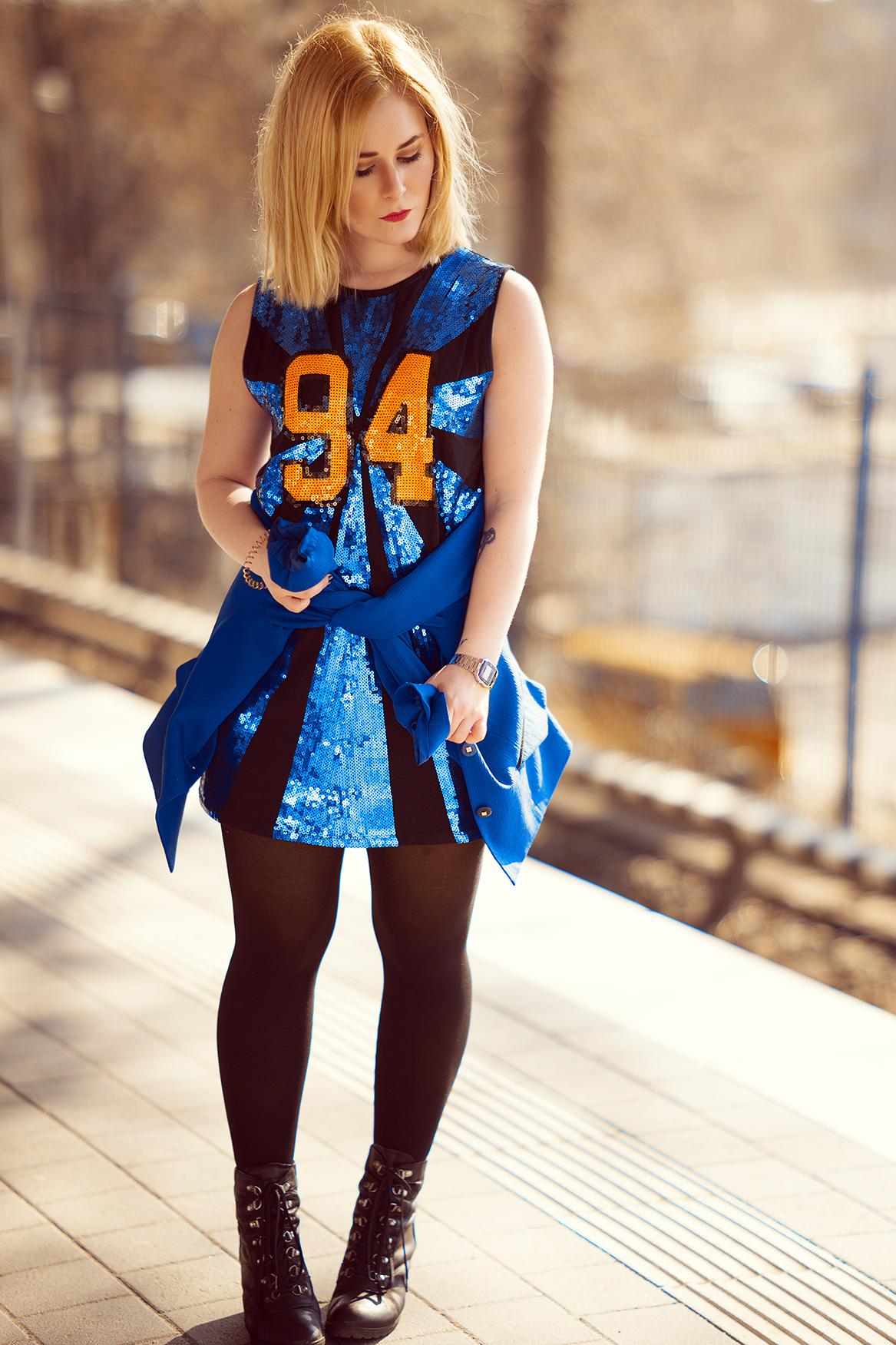 Pailletten Kleid Herbst Outfit