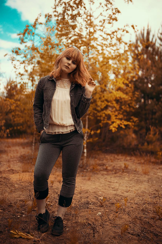 Schönes Herbst Outfit mit Cordjacke und Glitzer Hose