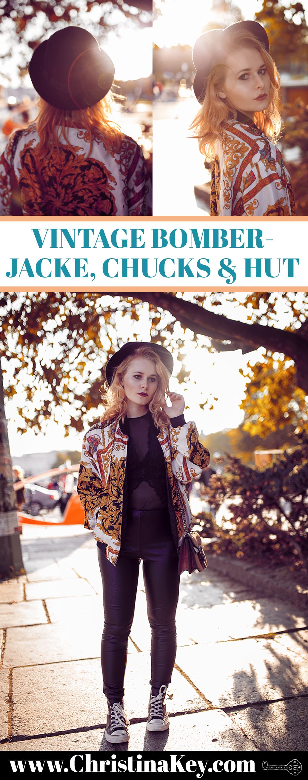 Vintage Bomberjacke Chucks und Hut Herbst Outfit
