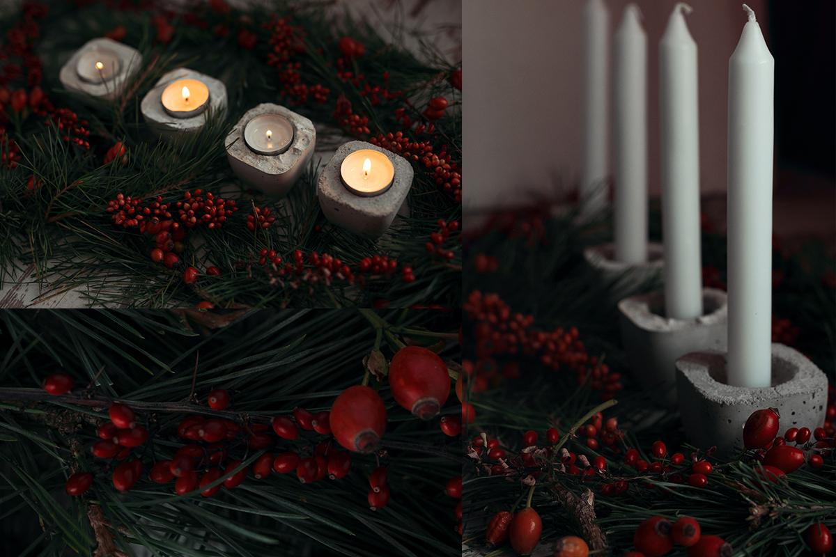 Adventskranz mit DIY Beton Kerzenhalter selber machen