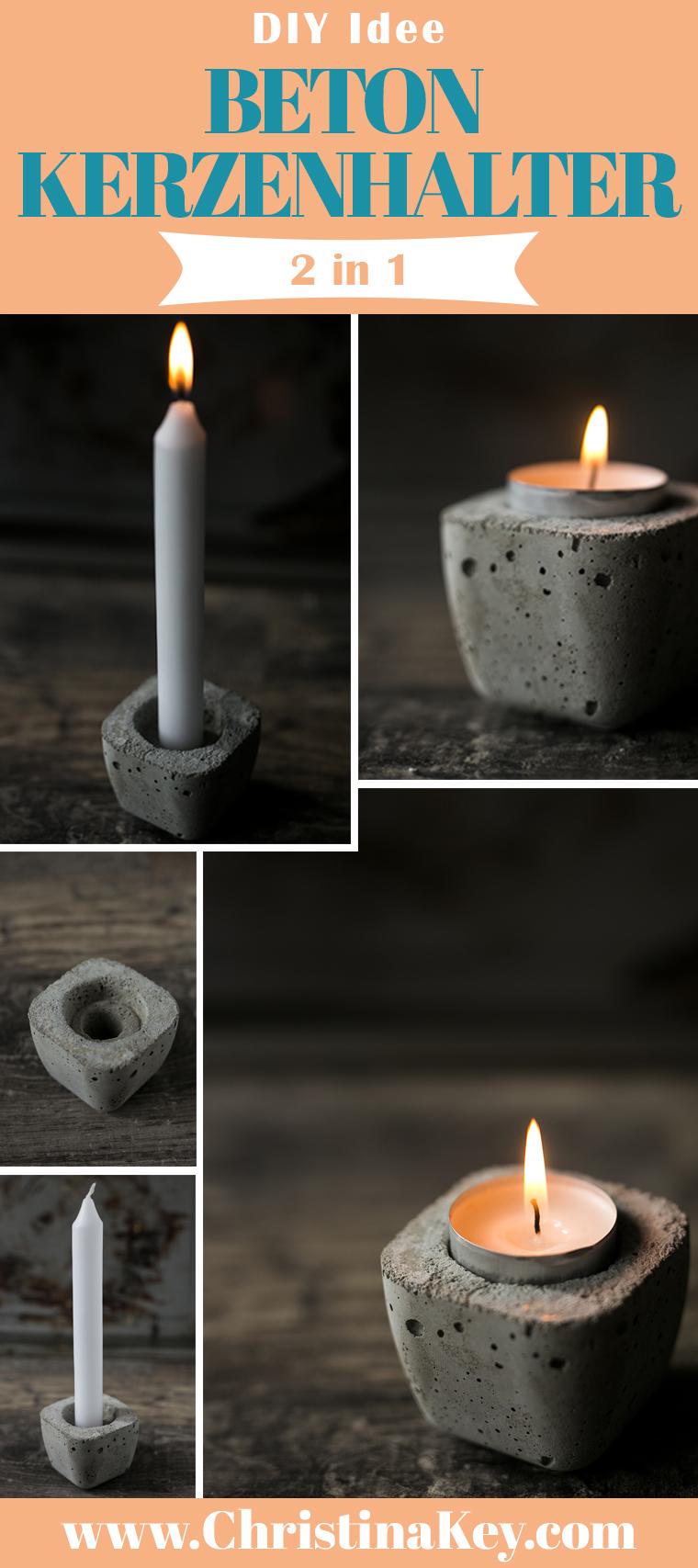 Beton Kerzenhalter für Teelichter & Stabkerzen DIY
