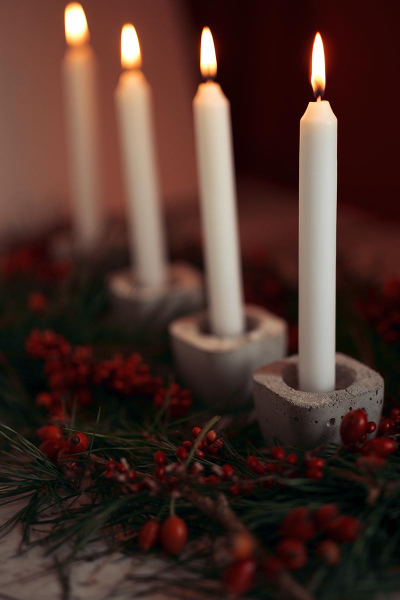 Beton Kerzenhalter mit Stabkerzen