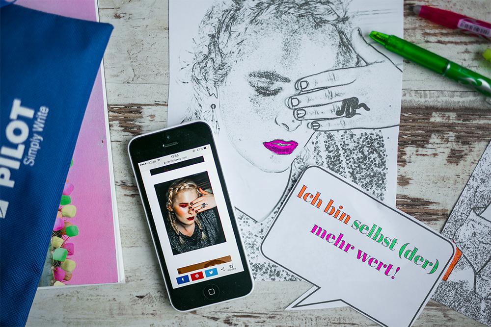Blogger Fehler skiziert mit FriXion Colors von Pilot