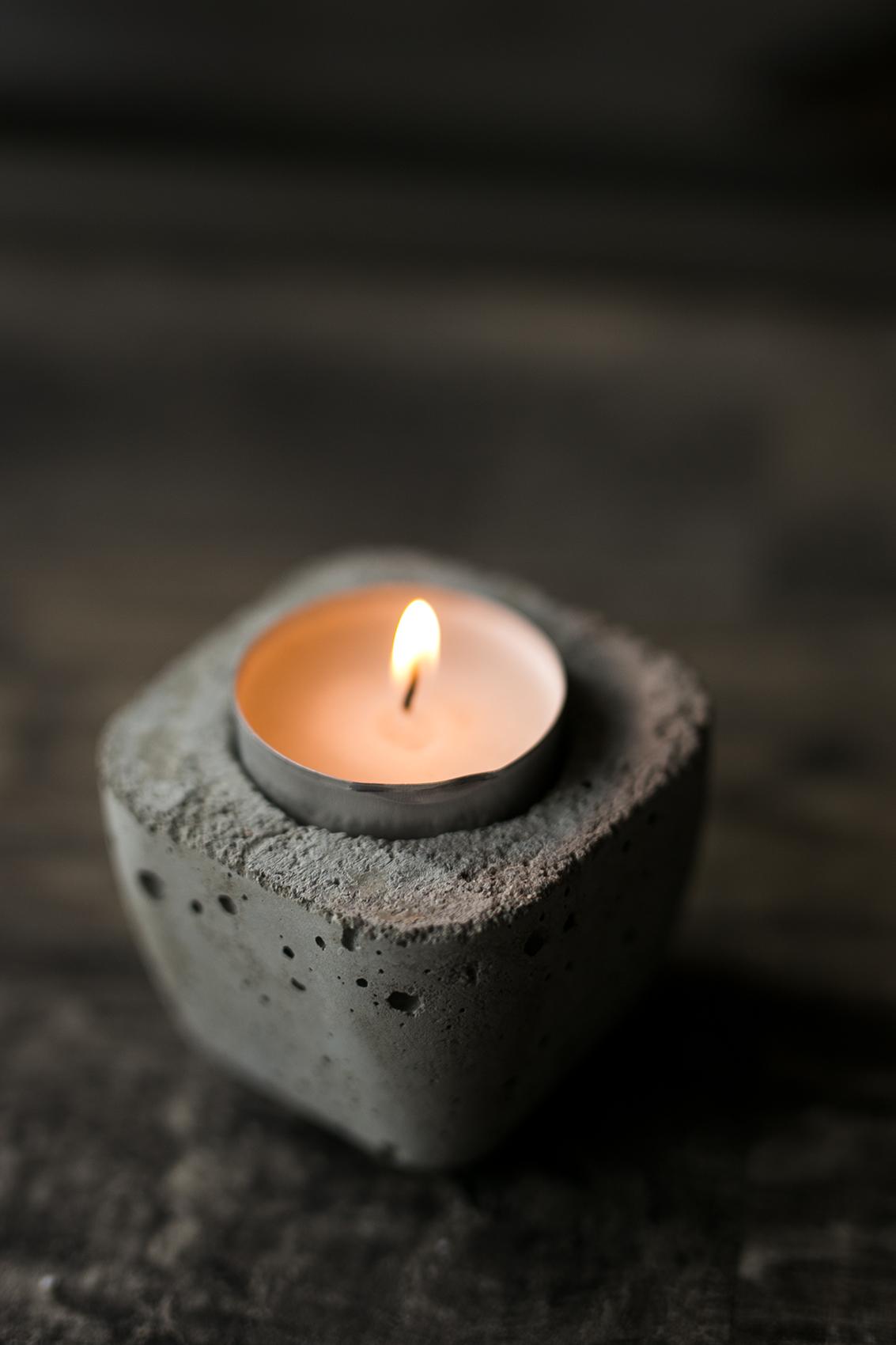 DIY Idee mit Beton Kerzenhalter