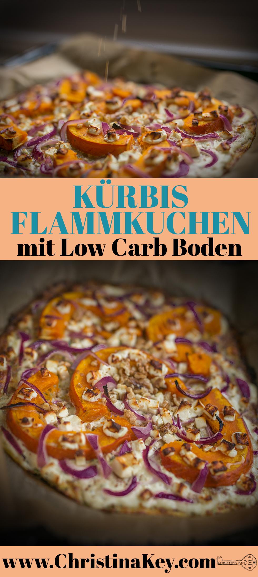 Kürbis Flammkuchen mit Low Carb Boden Rezept